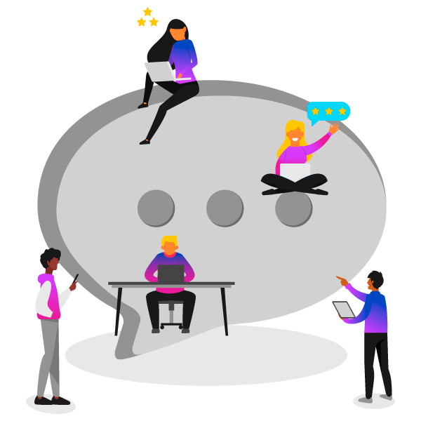 Cartoon graphic showing remote workers