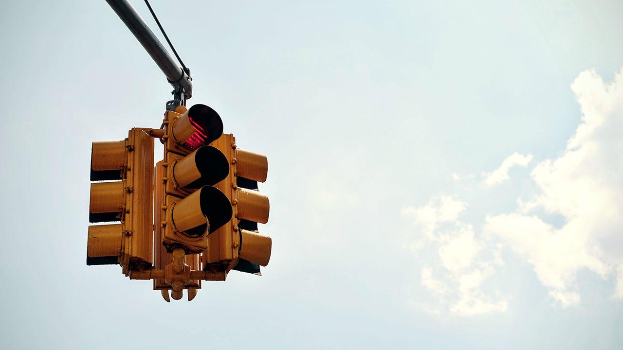 A red traffic light