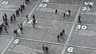 People walking over calendar painted on floor