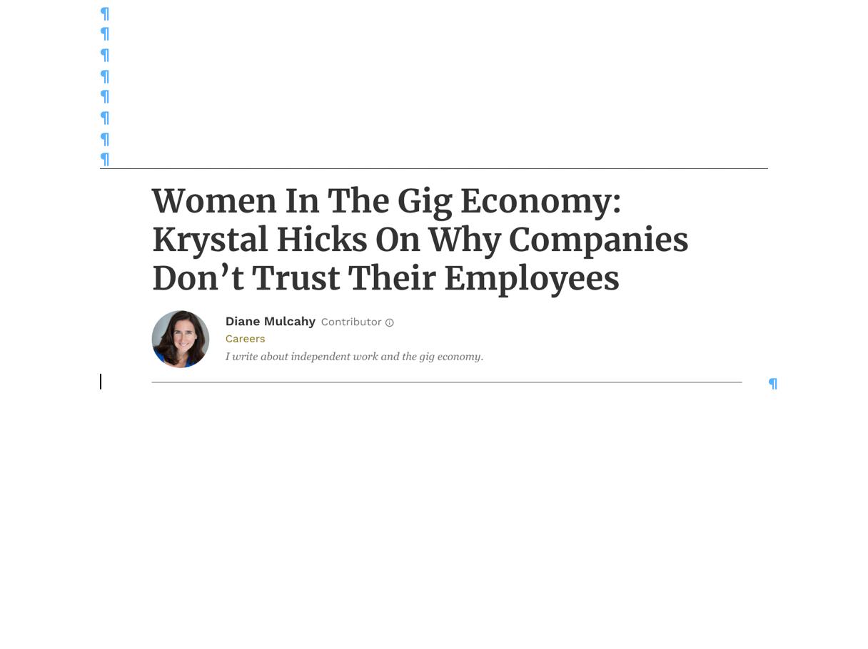 Tweet: Women in the Gig Economy