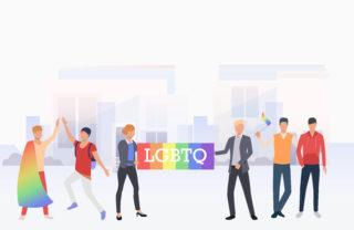 Activists holding pride flag for June Pride Month 2021