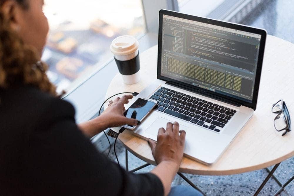 Remote software developer enjoying remote work